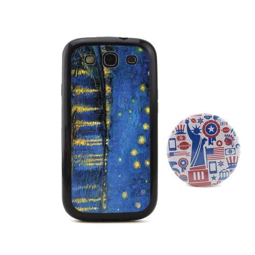 Euclid+ -Starry Night Over the Rhone Vincent Willem van Gogh Oil Painting Embossed Design Style Plastic+TPU Case Cover for Samsung Galaxy S3 SIII I9300 with American Style 2.3'' Inch Pinback Button Badge