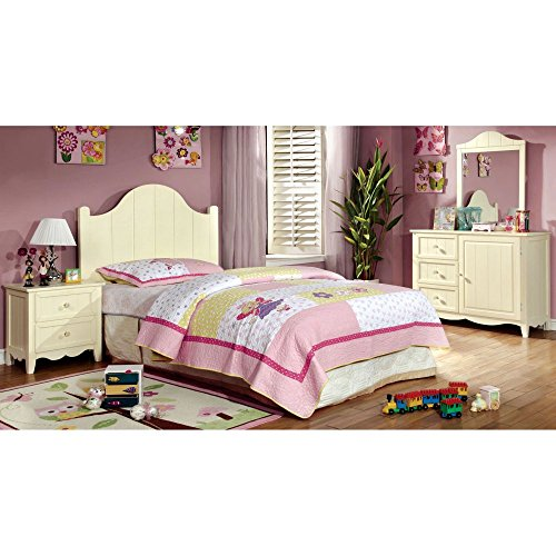 Furniture Of America Brooklyn Collection 4-Piece Twin Bedroom Collection - Cream, Off White, Glass, Twin front-830202