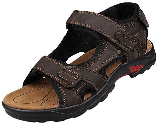Kunsto Men's Leather Athletic Sport Sandal Flats Shoes US Size 11 Brown - 1