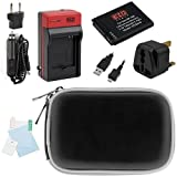 EZOPower BP-70A Battery and Charger Travel Kit for Samsung DV150F, WB30F, MV800, ST72, ST150F, ST66, ST76 Digital Camera, Includes: Black Compact Pouch Case + USB Cable + Screen Protector + UK Plug