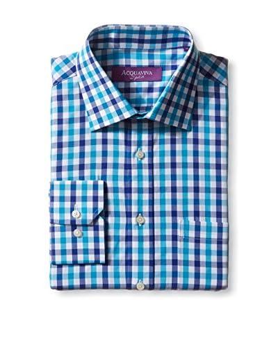 Acquaviva Men's Gingham Barrel Cuff Dress Shirt