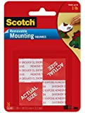 Scotch(R) Removable Mounting Squares , 1 x 1 Inches, 16 squares ,Grey(108)