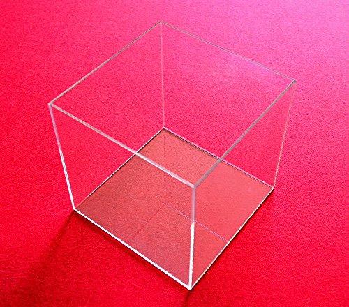 Tisch-Vitrine-Wrfel-Acryl-Glas-Schaukasten-Spuck-Staub-Schutz-Ausstellung-Gross-Transparent-20x20x20-cm