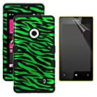 MINITURTLE, Premium Sleek Dual Layer 2 in 1 Hybrid Hard Protective TUFF Phone Case Cover and Clear Screen Protetor Film for No Annual Contract Prepaid Windows Smartphone 8 Nokia Lumia 521 /T Mobile /Metro PCS (Green Zebra Skin / Black)