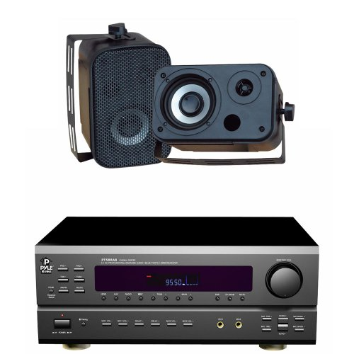 Pyle Stereo Receiver Package With Waterproof Speakers For Your Studio, Bar, Concert, Performance, Home, Etc. - Pt588Ab 5.1 Channel Home Receiver With Am/Fm, Hdmi And Bluetooth - Pdwr30B 3.5'' Indoor/Outdoor Waterproof Speakers (Black) (Pair) - Speakers Ca
