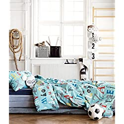 ABC Alphabet Toddler Bedding Twin Duvet Quilt Cover 2pc Set Print 100% Cotton Boys Bedding Car Traffic City Teal Blue Red Gray Black