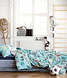 ABC Alphabet Toddler Bedding Twin Duvet Quilt Cover 2pc Set Print 100% Cotton Boys Bedding Car Traffic City Teal Blue Red Gray Black