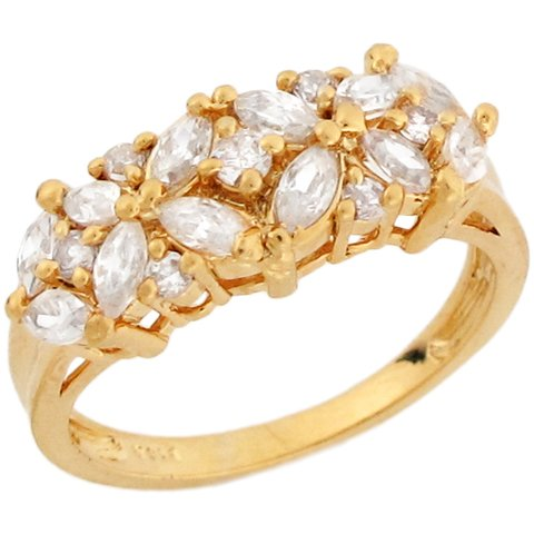 9ct Yellow Gold White CZ Lavish Eternity Band Ladies Ring