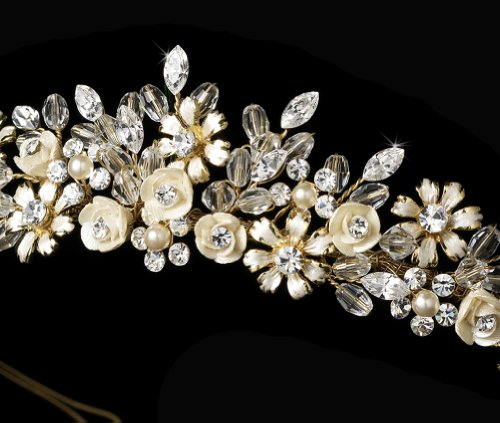 Elegance Collection - Gold Tone and Champagne Porcelain Flower Accented Headband акустика центрального канала mt power elegance center black