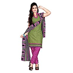 M Fab Printed Green Cotton Un Stitched Dress Material