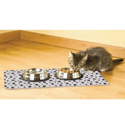 Drymate Cat Bowl Place Mat  Paw Imprint Design,