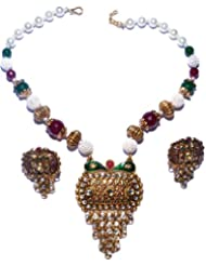 Nexus Traditional With Pearl Ball Chain Necklace Set For Women