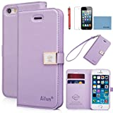 iPhone 5S case,iPhone 5 case,by Ailun,Wallet case,PU leather case,credit card holder,Flip Cover Skin[Purple] with screen protect and styli pen