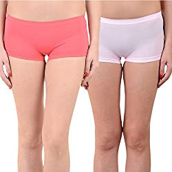 Mynte Women's Sports Shorts (MEWIWCMBP-SHR-102-97, Pink, Baby Pink, Free Size, Pack of 2)