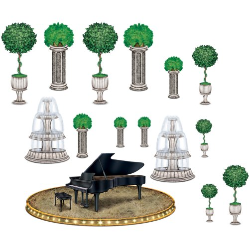 "Beistle 52022 Printed Black Tie Piano and Décor Props, 13.25"" to 3' 10.5"", 15 Pieces In Package"