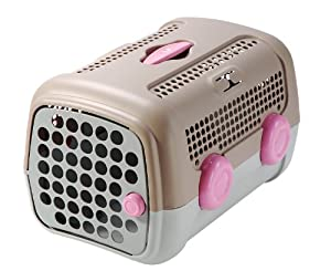 Petego United Pets A.U.T.O Pet Carrier, Tan/Gray & Pink, 14.5 Inches by 20 Inches by 13 Inches