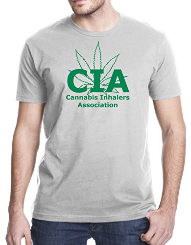 Cannabis Inhalers Association CIA Funny T-Shirt, Large, Gray