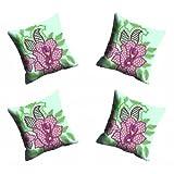 MeSleep Digitally Printed Flower Micro Fabric 4 Piece Cushion Cover Set - Green