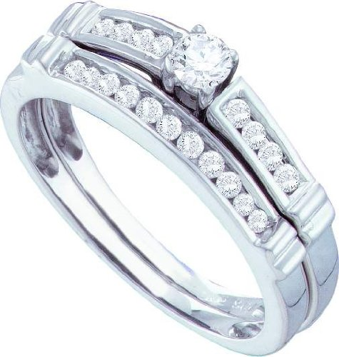 14ct White Gold 0.38 Dwt Diamond Round-center Bridal Set Wedding Ring