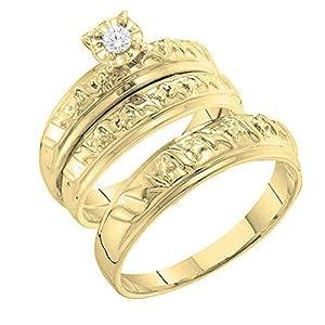 0.05 Carat (ctw) 10K Yellow Gold Round White Diamond Men's & Women's Bridal Trio Set (Size 10)