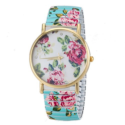 Women'S Floral Dial Flower Pattern Elastic Alloy Band Quartz Wrist Watch - Blue