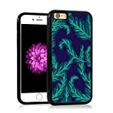 img - for iPhone 6 Case, Botanical Watercolor Leaf Pattern, Tropical Palm leaves in Blue Turquoise on Navy Blue, Impact Resistant Black PC with Black Rubber inside. Protective Cover for Apple 4.7-inch book / textbook / text book