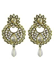 Auura Collection Gold Plated CZ Stone With Pearl Earrings