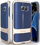 Galaxy S7 Edgeケース、Vena[vAllure]波織地[バンパー・フレーム][耐震性のコーナーガード | 強いグリップ]Samsung Galaxy S7 Edge専用 極薄複合型カバー (ゴールド/ブルー)