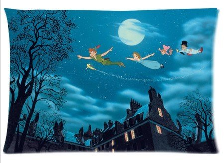"Cartrol Cotton & Polyester Custom Pillowcase- American Animated Fantasy-Adventure Film Peter Pan Zippered Pillow Case Covers Standard Size 20""X30"" (One Side) front-907590"