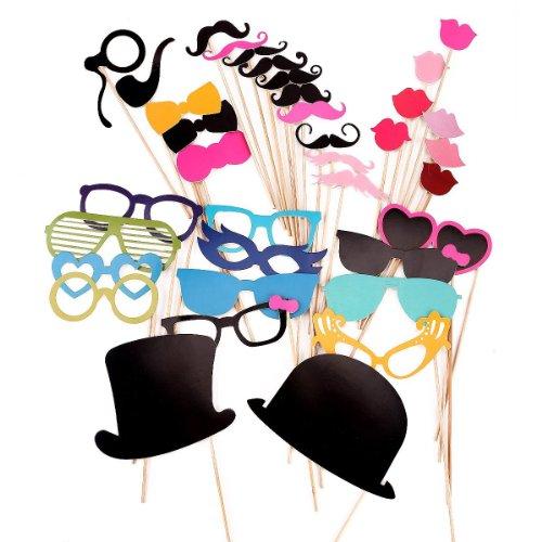 Gearmax® 36 DIY accessoires Photo sur bâton Moustaches Rouge à lèvres de mariage, fête, Noël, Nouvel an
