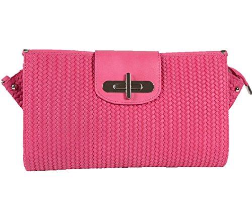 Designer-Italienische-Tasche-Leder-Handbag-geflochtene-Look-Echtledertasche-Handtasche-Schultertasche-Clutch-Umhngetasche-Borsetta-Pochette-Pink-Rosa