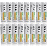 EBL® 16 Pack 2800mAh High Capacity AA Ni-MH Rechargeable Batteries, 1500 Cycle