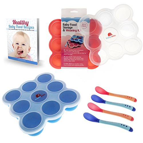 Safest Baby Food Storage Containers 2-Set Freezer Trays - BPA Free FDA Approved - 2 Silicone Clip On Lids - 2.6 oz Multiportions - 4 FREE Weaning Spoons & BONUS KiddieBobs Homemade Recipe CookBook (Steamer Puree compare prices)