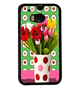 Fuson 2D Printed Flower Designer back case cover for HTC One M8 - D4457
