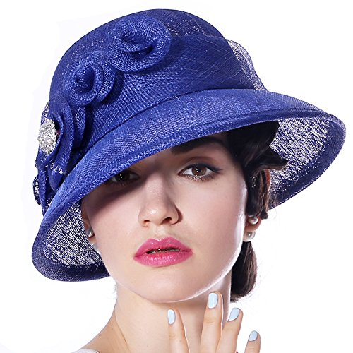 June's Young Women Hats Church Hat Sinamay Formal Hat Wedding Party(Royal Blue)
