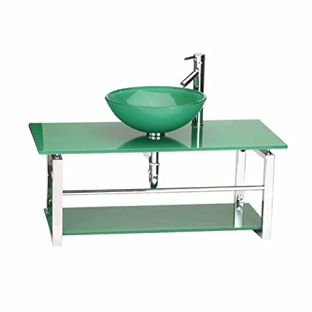 Glass Bathroom Console Sink Wall Mount Tempered Green | Renovator's Supply