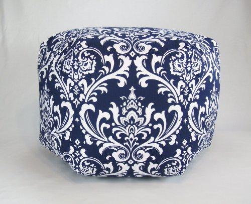 Superb 24 Floor Ottoman Pouf Pillow Navy Blue White Damask Tukalley Ibusinesslaw Wood Chair Design Ideas Ibusinesslaworg