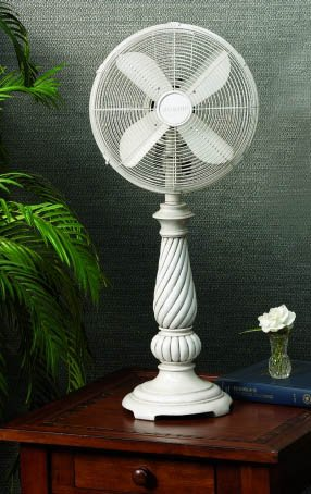 """31"""" Elegant White Antique Style Oscillating Indoor Table Top Fan"""