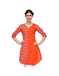 Sia Fashion Orange Retro Printed Kurta For Women