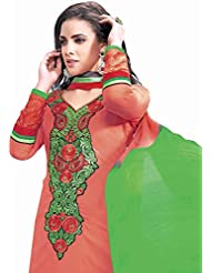 Exotic India Claret-Red Choodidaar Kameez Suit With Floral Embroidered Pat - Red
