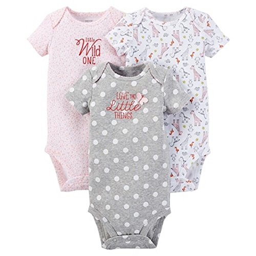 Carter's Just One You Baby Girls' Animals 3-Pack Bodysuit - Pink (12 Months )