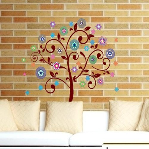 BELLA Decal romantic bedroom living room TV backdrop of colorful trees removable wall stickers