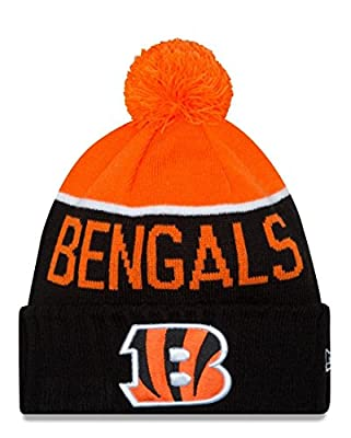 New Era Knit Cincinnati Bengals Orange On Field Sideline Winter Stocking Beanie Pom Hat Cap 2015