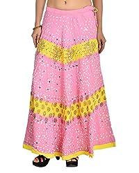 Aura Life Style Women's Block Glace Cotton Bandhej Skirt (ALSK3035B, Multi , Free Size)