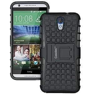 Casotec Rugged Armor Hybrid Kickstand Case Cover for HTC Desire 620 - Black