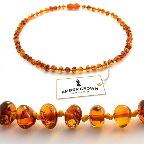 Amber Teething Necklace For Babies - Anti Inflammatory, Drooling And Teething Pain Reducing Natural Remedy - Made Of Highest Quality Certified Baltic Amber - Polished Honey Tone Amber Beads - 100 Days 100% Satisfaction, Money-Back Guarantee!