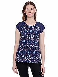 KASHANA Poly Crepe Blue Floral Pattern Cap Sleeve Top For Women Ladies