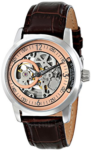 Stuhrling Original Men's 837.04  Delphi Automatic Skeleton Rose Dial Brown Watch