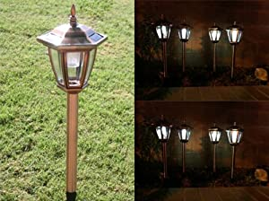 Amazon.com - 2 Pk Copper Hexagon Stainless Steel Solar Wall Mounted/Stakes Light 5 LED ...