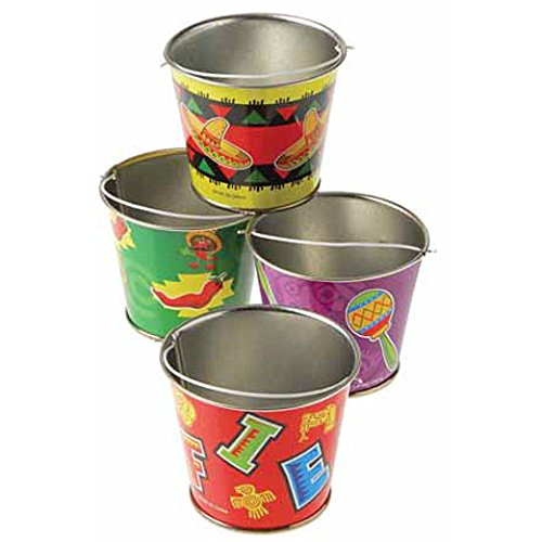 Assorted Mexican Fiesta Design Mini Decorative Metal Bucket With Handle - 1